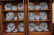 Over 70 pieces Staffordshire China, English Liberty Blue