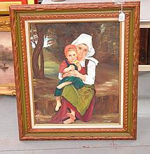 Oil on Canvas of Mother and Child