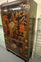 Large Japanese Style Decorated Wardrobe by Herrdon