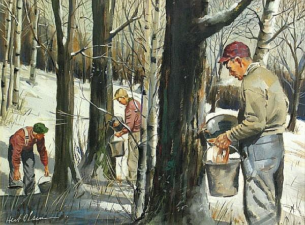 Herbert Vincent Olsen (American, 1905-1973) Three men harvesting sap sight: 16 x 21 1/2in