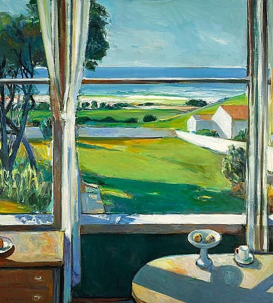 Robert Aaron Frame (American, 1924-1999) Window - Late Afternoon 56 x 50in