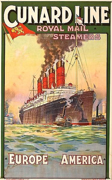 Charles Eddowes Turner (British, 1883-1965); Cunard Line - Royal mail Steamers - Europe America