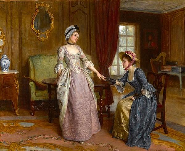Charles Haigh-Wood (British, 1856-1927) The engagement 31 1/4 x 38 1/4in (79.3 x 97.2cm)
