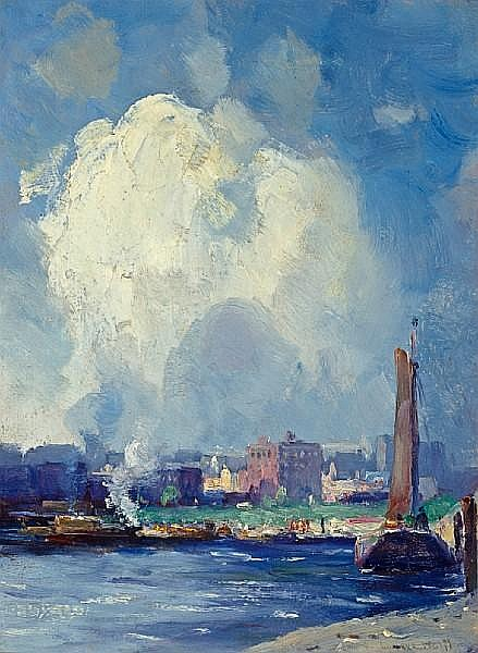 Gustav Wolff (German/American, 1863-1935) Harbor view 16 x 12in