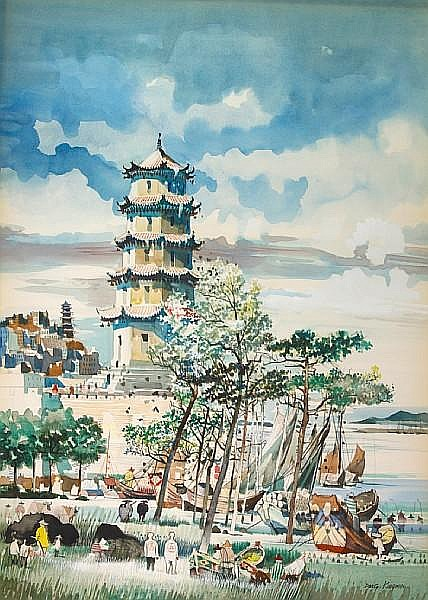 Dong Kingman (American, 1911-2000) Along the China coast 39 x 28in
