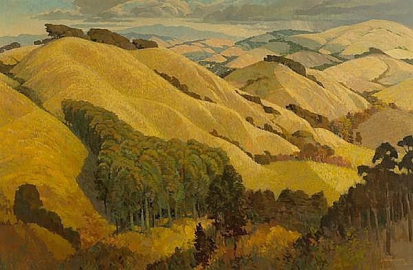 Louis Macouillard (American, 1913-1987) Sonoma hills, 1968 47 x 71 inches