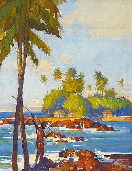 Maurice Logan (American, 1886-1977) Fisherman, Hawaii 17 3/4 x 14in