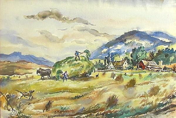Ben E. Shute (American, born 1905) Haying farm scene 15 1/2 x 22 1/4in