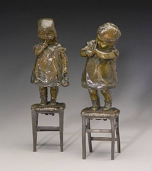 Two patinated bronze figures of children