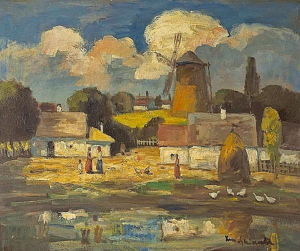 Béla Iványi Grünwald (Hungarian, 1867-1940) Village end 19 1/2 x 23 1/2in (49.5 x 59.8cm)