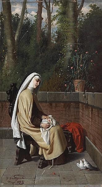 Gabriele Castagnola (Italian, 1828-1883) Daytime reverie 23 1/2 x 13in (59.7 x 33cm) unframed