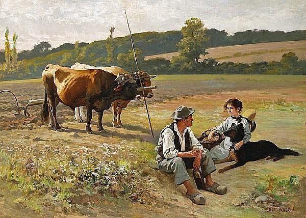 Edouard Bernard Debat-Ponsan (French, 1847-1913) A mid-day repose in the fields 29 x 39in (73.7 x 99.1cm)