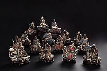 A SET OF FIFTEEN POLYCHROME LUOHAN FIGURES