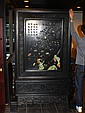A LARGE CHINESE WOOD AND SEMI-PRECIOUS STONE LARGE PANEL