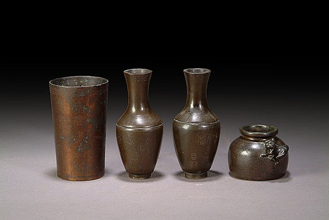 A SET OF MINIATURE BRONZE WARES