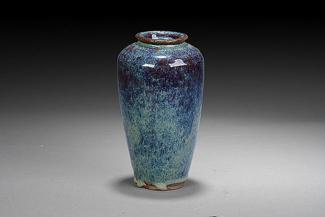 A CHINESE BLUE GLAZED VASE