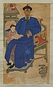 A CHINESE PAINTING OF A BOY AND OFFICIAL