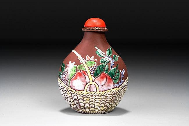 A CHINESE ENAMELED ZISHA SNUFF BOTTLE