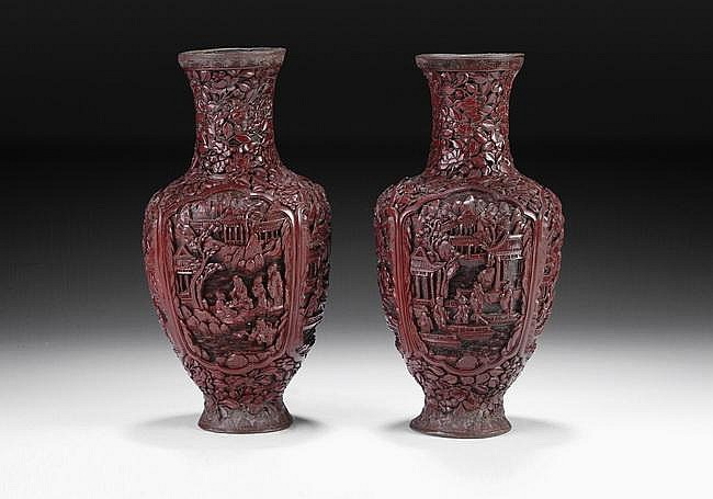 A PAIR OF CHINESE CINNABAR LACQUER VASES