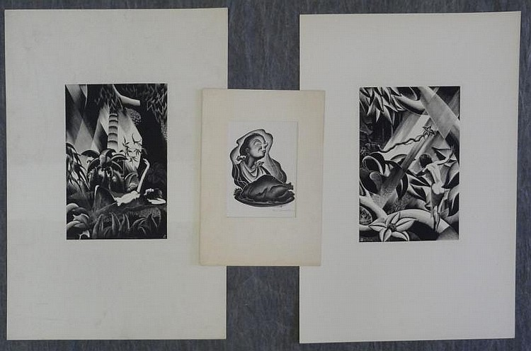 LANDACRE, Paul. 3 Wood Engravings.