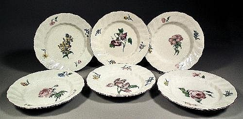 Six 18th century Tournay porcelain botanical