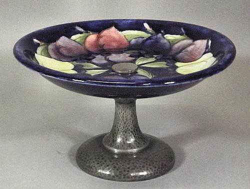 A Moorcroft pottery tazza with Tudoric pewter