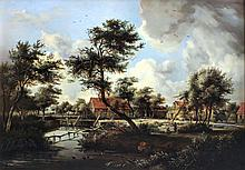 19th Century English School - Oil painting - Rural river landscape with watermill