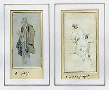 In the manner of William Holman Hunt (1827-1910) - Pencil and watercolour drawing and a pencil drawing -
