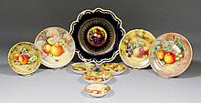 Nine Royal Worcester bone china small plates and circular dishes
