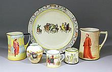 A collection of Royal Doulton printed and coloured pottery