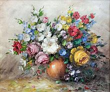 Rene (20th Century Continental) - Oil painting - Still life with bowl of flowers