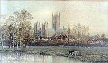 Thomas Henry Hunn (1857-1928) - Watercolour - Canterbury Cathedral