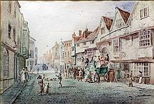 After Thomas Sidney Cooper (1803-1902) - Watercolour - Stagecoach outside the George & Dragon Inn