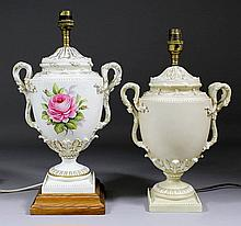 A Royal Worcester bone china electric table lamp of two-handled urn design