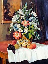 Francesco Pablo de Besperato (1900-1963) - Oil painting - Still life with vase of flowers and fruit on a table