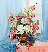 Francesco Pablo de Besperato (1900-1963) - Oil painting - Still life with a bowl of roses