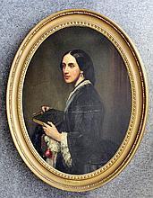 19th Century English School - Oil painting - Oval half length portrait of Emily Williams