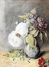 Attributed to Mary Ann Duffield (1819-1914) - Watercolour - Still life of flowers in a jug