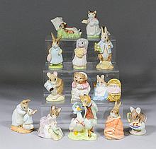 Twelve Royal Albert pottery and one Beswick pottery