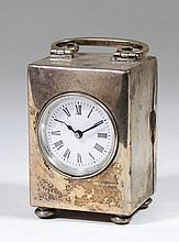 An Edward VII plain silver cased travelling timepiece