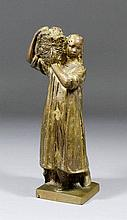 20th Century Russian School - Bronze standing figure - Young woman carrying a basket on her shoulder