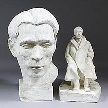 J.N. Balston (20th Century English School) - Two white plaster maquettes - Seated figure