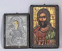 20th Century Russian School - Painted and stained wood rectangular icon with silvery metal oklad - St. Anthony