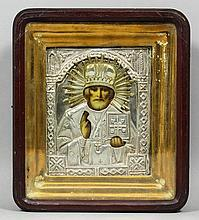 Late 19th/early 20th Century Russian School - Icon - St. Nicholas with right hand raised in blessing with oklad
