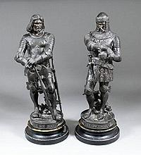 A pair of 19th Century French bronzed spelter figures -