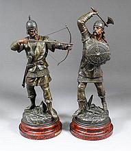 A pair of 19th Century bronzed and cold painted spelter figures - Anglo Saxon Warriors