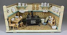 A 1930s painted wood doll house kitchen by Maurice Gottschalk