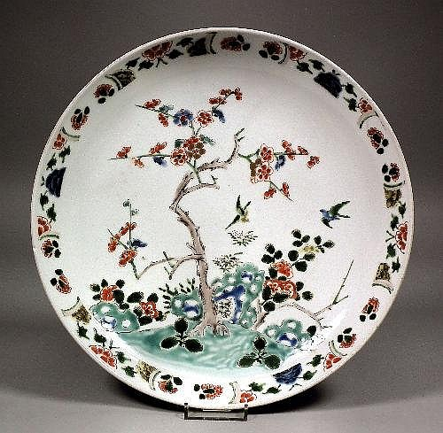 A Chinese porcelain circular dish enamelled in