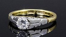 A 1950s 18ct gold and platinum mounted diamond