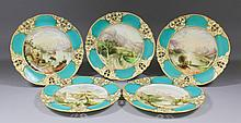 Five Royal Worcester porcelain cabinet plates of